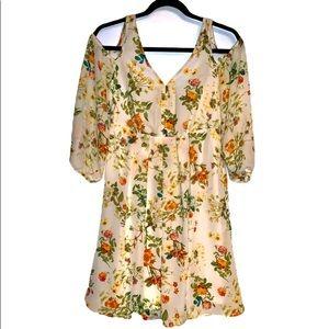 Disney Alice cold shoulder dress floral x small
